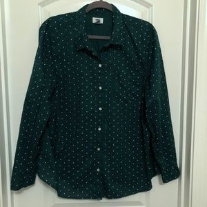 Old Navy Pine Green Button Down with White Dots
